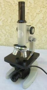 Vintage Eagle Microscope W 3 Objective Lens 4x 10x 40x