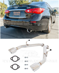 For 14 up Infiniti Q50 Muffler Delete Axle Back Double Wall Dual Tips Exhaust