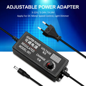 Adjustable Voltage Power Supply Adapter Ac dc Switch W Led Display Eu Us Uk