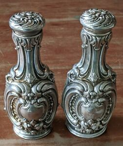 Antique Whiting Sterling Salt Pepper Shakers Rococo