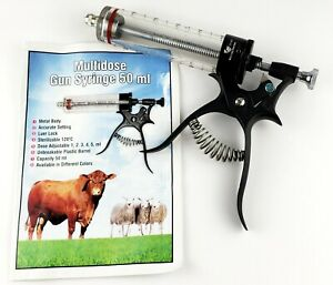 Multidose Gun Syringe 50 Ml Metal Body With Accurate Setting Veterinary Tools