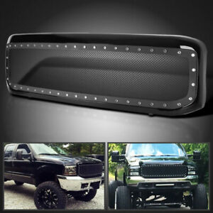 Black Steel Rivet Mesh Style Front Bumper Grille For 1999 04 Ford F250 F350