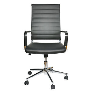 Office Chair Gaming High back Ergonomic Computer Pu Leather Executive Seat Black