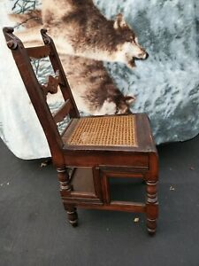 Antique Mahogany Cane Bottom Library Chair Fold Out Step Ladder Stool Top Shelf