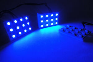 Blue 12 Smd Led 194 Ba9s Festoon Adapter For Bmw Map Dome Courtesy Light Panel