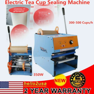New Electric Tea Cup Sealer Sealing Machine 350w Bubble 300 500 Cups hr Us Stock