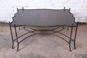 Spanish Revival Leather Sculptural Forged Steel Cocktail Table By Sarreid Ltd