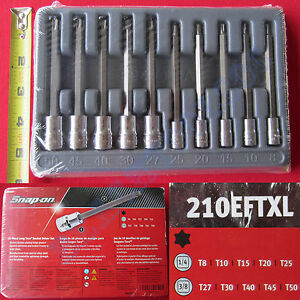New Snap On 1 4 3 8 Drive Long Torx Socket Driver 10 Pcs Set 210eftxl Usa
