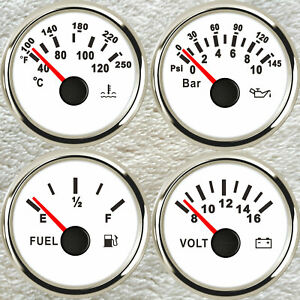 4 Gauge Set Fuel Water Temperature Volts Oil Pressure Red Led 2 52mm For Cars