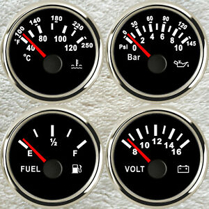 4 Gauge Set With Senders Fuel Level Water Temperature Volts Oil Pressure 2 52mm