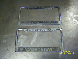 2 West Covina Crestview Cadillac Accessory Plate Frames 1950 52 59 Gm Bomb Chevy