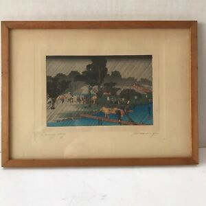 Original Framed Japanese Woodblock Print Rainy Day Hiroshige Pencil Title Signed