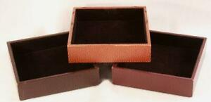 Vintage Barney s New York Leather Dresser Jewelry Organizer Box Set Of 3 Italy