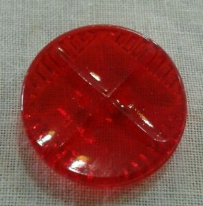 Ruby Red Clear Glass Button Antique Vintage Depression Unique Square On Circle