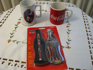 Lot of 2 Coca Cola Mugs Plus Ceramic Roller Ball Pen & Coke Tin