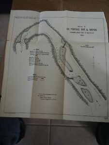 Antique Map Sketch Ox Portage Bar Rap Showing Work Done In Winter Of 1890 01