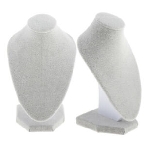 2 Lot White Velvet Necklace Female Bust Display Shop Jewelry Figure Stand