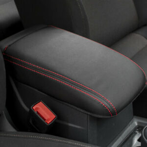 Red Line Real Leather Car Center Armrest Storage Box Panel Cover For Vw Golf 7