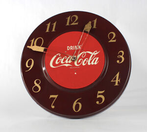 Vintage Original Art Deco Drink Coca Cola Clock 1950s Soda Sign