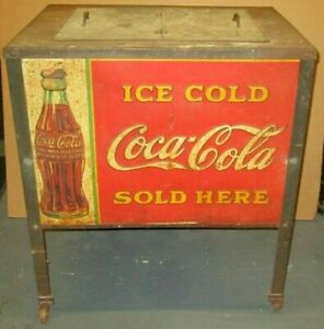 EARLY VINTAGE COCA COLA COOLER ON LEGS W/ LITHOGRAPHIC TIN PANELS & ORIGINAL