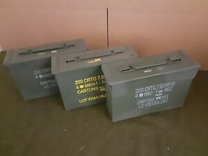 AMMO CAN 3 PACK ONCE USED MILITARY 7.62 30 Cal M19A1 ** FREE SHIPPING** $39.95