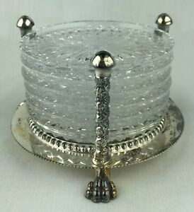 F B Rogers Claw Footed Silver Coaster Holder 6 Ornate Glass Coasters Italy Vtg