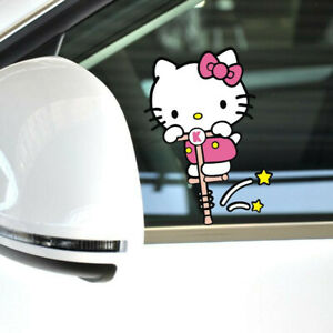Hello Kitty Jump Pole Cute Paperclip Cover Scratches Reflective Car Stickers