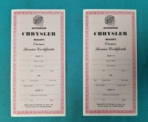 New Mopar 1958 To 1960 Chrysler Vehicle Service Policy Certificate