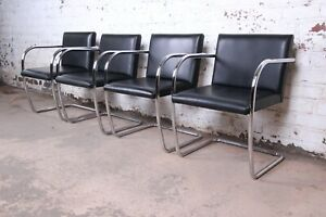 Mies Van Der Rohe Black Leather And Chrome Brno Chairs Made In Italy