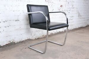Mies Van Der Rohe Black Leather And Chrome Brno Chair Four Available