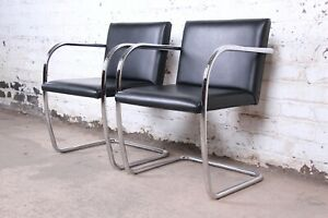 Mies Van Der Rohe Black Leather And Chrome Brno Chairs Pair