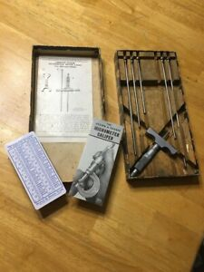 Brown And Sharpe No 608 0 6 Depth Micrometer Caliper Gages Chrome Vguc In Box