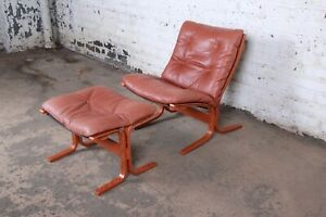 Ingmar Relling For Westnofa Bentwood Teak And Leather Lounge Chair And Ottoman