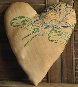 Primitive Heart Valentine Cupboard Tuck Coffee Stained Embroidered Water Lily