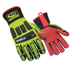 Ringers Gloves 267 08 Roughneck Hi vis Impact Resistant Work Gloves Small