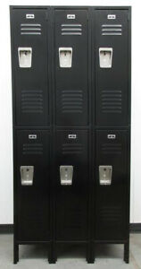 Large 2 tier Metal Black Lockers 45 w X 18 d X 60 th 6 Lockers A Set