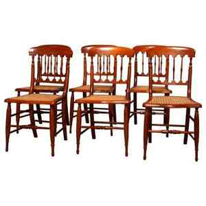 Set Of Six Antique Chestnut Spindle Back Dining Chairs Circa 1910