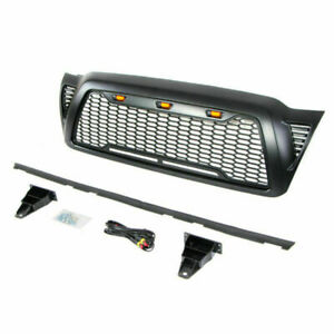 Front Grille For 2005 2011 Toyota Tacoma Abs Honeycomb Hood Grill W Led Lights