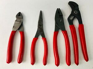 Snap On 4 Pc Pliers Cutters Set Pl400b 47acf 91acp 96acf 87acf Red