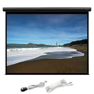150 Motorized Projector Screen 16 9 Hd White Matte Home Theater W Ir Remote