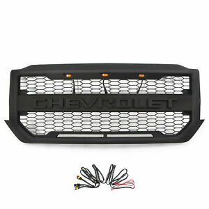 Grille Fit For 2016 2018 Chevrolet Silverado 1500 Black Grill W 3 Led