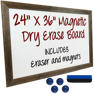 Dry Erase Magnetic White Board With Rustic Wooden Frame 24 x36