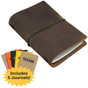 Handcrafted Top Grain Leather Journal Notebook Cover With 5 Journals 3 5 x5 5