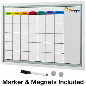 Framed Magnetic Calendar Whiteboard 24x16 With Dry Erase Marker