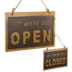 We re Open closed Sign Easy To Mount Reversible Wooden Sign 8x12 Inches brown