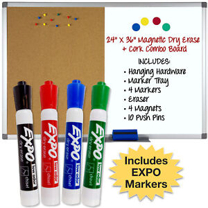Magnetic Dry Erase And Cork Combo Board 24x36 Aluminum Frame With 4 Markers