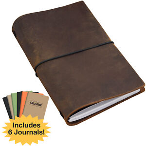 Handcrafted Top Grain Leather Journal Notebook Cover With 5 Journals 5 x8
