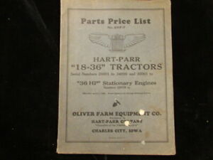 1920's Hart Parr 18-36 Tractor 36 HP Stationary Engines oliver catalog part list