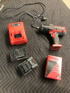 Snap On Ctb7185 1 2 Drive Impact Wrench Cordless 18v W 3 Batteries Charger