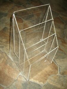 Vintage Lucite Acrylic 3 Tier Office Desk Papers Letter Magazine Organizer Caddy